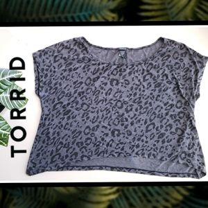 TORRID Black/Grey Cheetah Crop Top